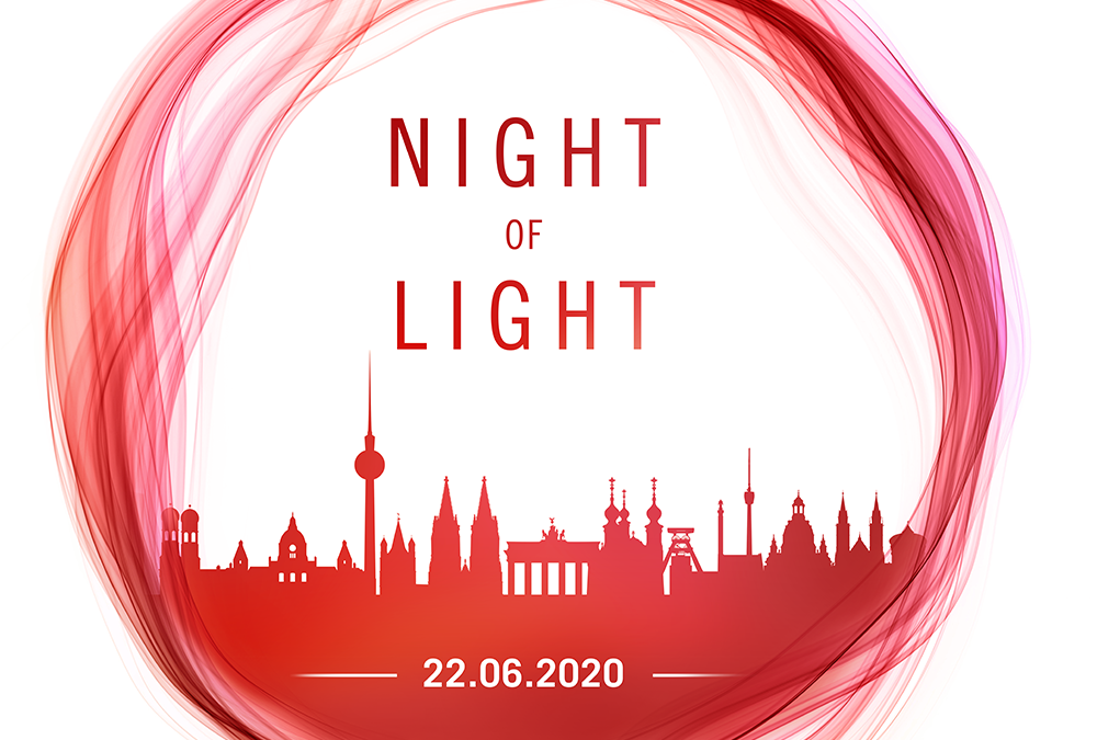 "Stadtwerke-Gebäude zur ""Night of Light"" rot angestrahlt"